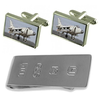 Harrier Jump Jet Cufflinks & James Bondお金クリップ