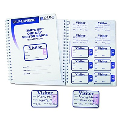 Time's Up Self-Expiring Visitor Badges w/Registry Log, 2 x 3, White, 150/Box (並行輸入品)