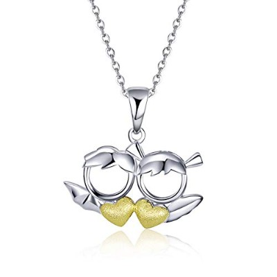 WOSTU S925 Cute Angel and Devil Gold Plated Necklace キュット 天使と悪魔 レディースネックレス ゴールドメッキ かわいいハート...