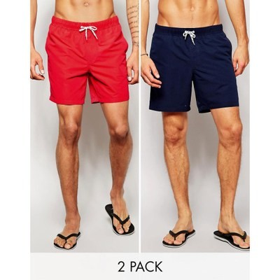 エイソス 海パン ASOS Mid Length Swim Shorts 2 Pack In Red And Navy SAVE 17% Navy/red