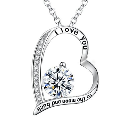 """fanzeレディース925スターリングシルバーCZ """" I Love You To The Moon And Back """"ハートペンダントネックレス"""