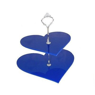 Large 2 Tier Blue Acrylic Heart Cake Stand 25cm 30cm Overall height 24cm