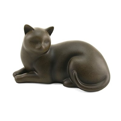 Cozy Cat Cremation Urn–Sable Brownポリレジン–25ポンド