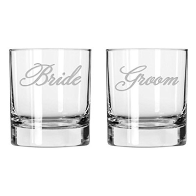 NationalエッチングBride and Groom Old Fashioned Glasses ( Set of 2 )