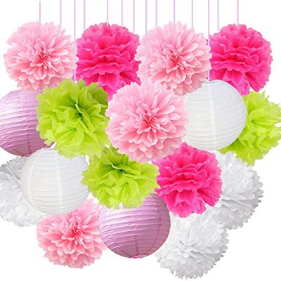16pcs Pink Series Pom Pom Flower Ball Mixed Paper Lanterns Party Favours Tissue Paper Flower...