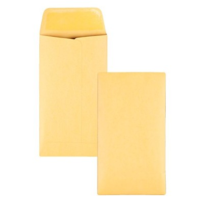 Kraft Coin & Small Parts Envelope, Side Seam, #6, Light Brown, 500/Box (並行輸入品)