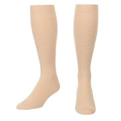 Compression Socks For Men Firm Graduated Support 20-30 mmHg Closed Toe Tan Large Absolute Support...