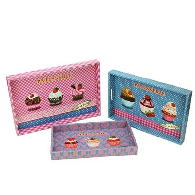 NorthLight Decorative Patisserie and Cupcakes木製長方形Serving Tray、3のセット、ピンク、3ピース