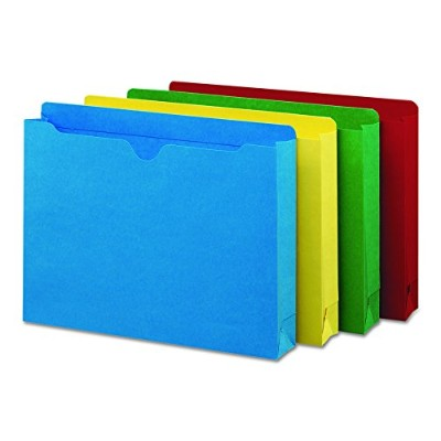 File Jacket, Double-Ply Tab, Two Inch Expansion, Letter, Assorted Colors, 50/Box (並行輸入品)