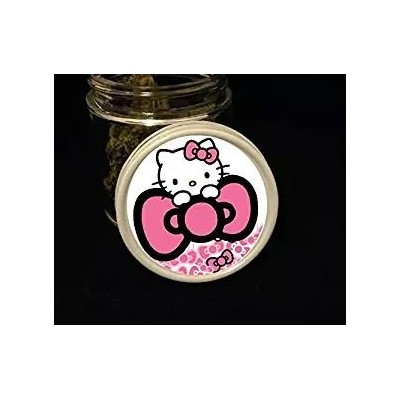 Hello kitty-heart and bows-stash jar-ガラスSmell Proofストレージ–ハーブコンテナ