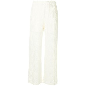 Pleats Please By Issey Miyake Clover lace wide trousers - ホワイト