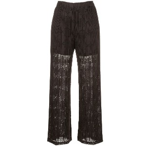 Pleats Please By Issey Miyake Clover lace wide trousers - ブラウン