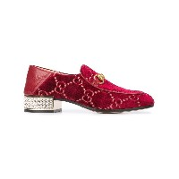 Gucci logo pattern loafers - レッド