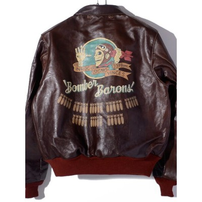 BUZZ RICKSON'S バズリクソンズ A-2 A2 フライトジャケット アウター レザージャケット メンズ BOMBER BARONS Hand Painted Red Rib A-2...