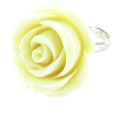 Cream on Silver Plated Plastic Flower Cocktail Ring