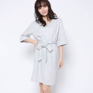 【SALE 77%OFF】ルーミィーズ  Roomy's OUTLET ウエストリボンポンチOP (ライトグレー)