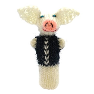 (white-black) - Pork Finger Puppet, animals to play and learn, toys hand knitted from soft wool