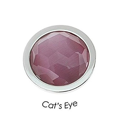 "(Light Pink) - QUOINS ""CAT'S EYE"" QMEG-S. Faceted Cabochon Cut Gemstone Stainless Steel Coin - Size..."