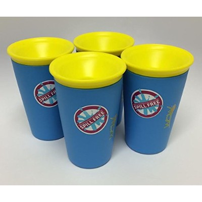 As Seen On TV Wow Cup spill-proof、カップ 4 Pack ブルー