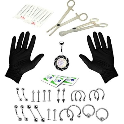 16G and 14G Body Piercing Kit 35 Pieces Star CZ Belly Tongue Tragus Eyebrow Nipple Lip Nose