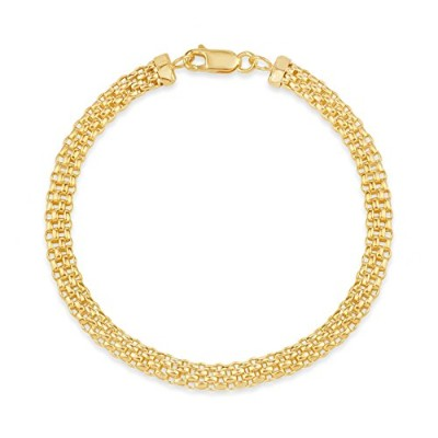 18 K Gold over Sterling Silver 5 mmバスケット織りFlexチェーンブレスレット8インチ、Made in Italy
