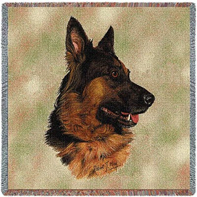 Pure Country 1126-LS German Shepherd Pet Blanket, Canine on Beige Background, 54 by 54-Inch by Pure...