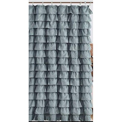 Waterfall Silver Ruffled Shower Curtain
