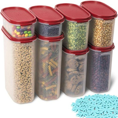 16pc。プラスチックストレージコンテナセットwith Lids forキッチンパントリー整理for Dry Food、Cereal、パスタ、砂糖小麦粉、スナック、&フルーツ/クリア...