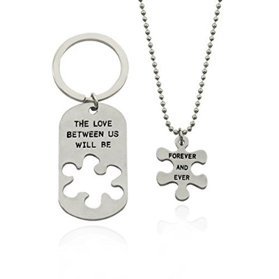 Maylove 2pcs The Love Between Us Will Be Forever and Everネックレスキーチェーンセット犬タグパズルギフト
