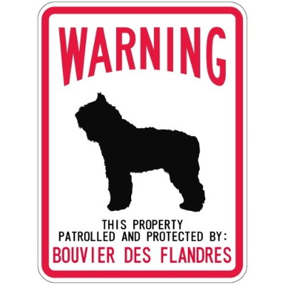 WARNING PATROLLED AND PROTECTED BOUVIER DES FLANDRES マグネットサイン:ブービエ・デ・フランダース(レ.