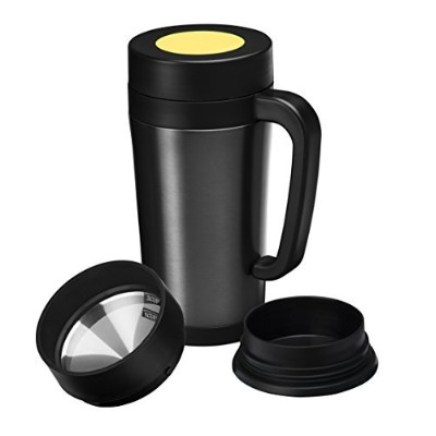 Pour Over Coffee Maker Thermal Travel Mug Built-in Stainless Steel Dripper Double Walled Stainless...