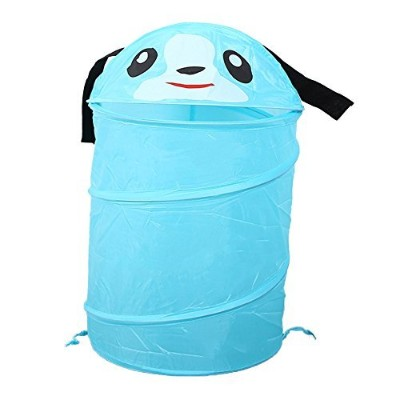 (Blue) - RMay Store Kid Pop-Up Laundry Hamper Cartoon Design Collapsible Clothes Basket Dirty Clothes Storage For Kids Children Cloth (Blue)