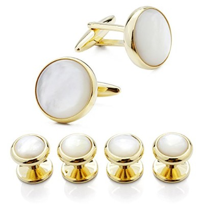 HAWSON Exquisite Mother of Pearl Cuff Links Shirt Studs Set Rose Gold and Gold