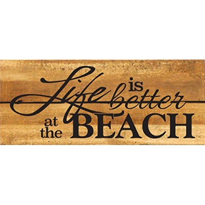 Life Is Better At The Beach 14 x 6木製パレットデザイン壁アートサイン