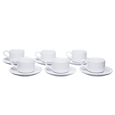 STACKABLE 12-Piece Porcelain Coffee/Espresso CUPS Set with Saucers (Set of 6)