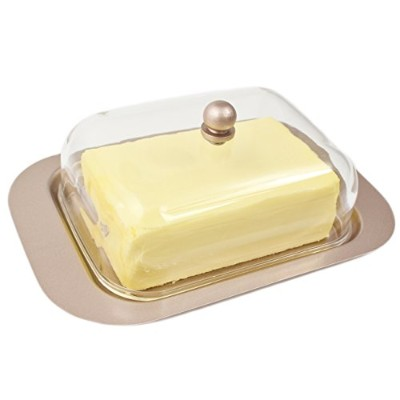 Zoie + ChloeステンレススチールButter Dish with easy to hold蓋