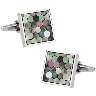 Cuff - DaddyスモークMother of Pearl Honeycomb Cufflinks withプレゼンテーションボックス