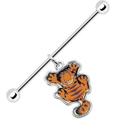 Body Candy Officially Licenced Stainless Steel Garfield Dangle Industrial Barbell 14 Gauge 38mm