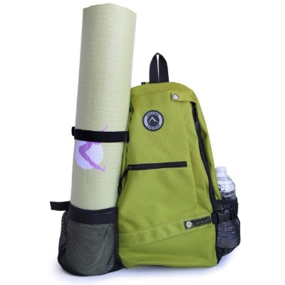 (Green) - Aurorae Yoga Mat Bag. Multi Purpose Cross-body Sling Back Pack. Mat sold separately.