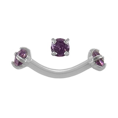 bodysparkleボディジュエリーパープルJeweled 16g5/16Curvedピアスbarbell-steel内部的threaded-eyebrow ring-cartilageイヤリ...