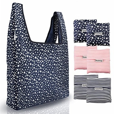 (Starry sky, Stripe) - Reusable Grocery Bags 6 Pack Heavy Duty Folding Shopping Tote Bag by Holotap...