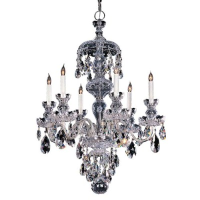 Crystorama Lighting 1148-CH-CL-MWP Chandelier with Hand Polished Crystals, Polished Chrome by...