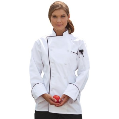Uncommon Threads 0432-2507 Murano Chef Coat in White with Black Piping - 3XLarge