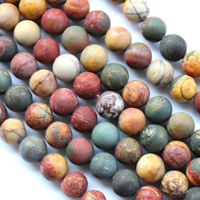 Natural Frosted Unpolished Genuine Black Picasso Jasper Round Gemstone Jewelry Making Loose Beads ...