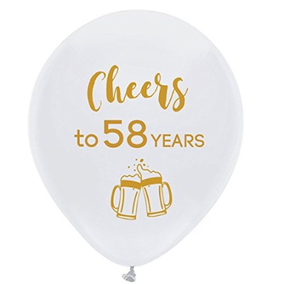 White cheers to 58 years latex balloons, 30cm (16pcs) 58th birthday decorations party supplies for...