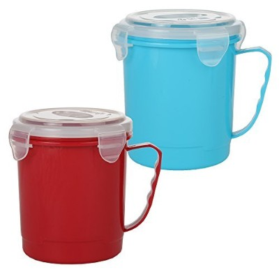 Home-X Microwave Soup Mug with Secure Snap Close Lid, 650ml, Set of 2 Colours (Red and Blue)