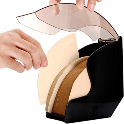 ZZ Lighting Coffee Filter Paper Holder with Cover Acrylic Coffee Filters Dispenser Rack Shelf...