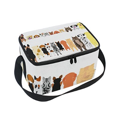 formrs Standing犬猫Lunch Box Insulated LunchバッグLargeクーラートートバッグバッグメンズ、レディース、
