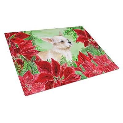 Carolines Treasures CK1345LCB Chihuahua Leg Up Poinsettas Glass Cutting Board, Large