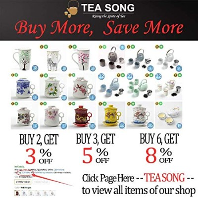 (310ml/10.5oz, Red Dragon) - Chinese Tea-Mug(310ml) with Strainer Infuser and Lid and Saucer.4...